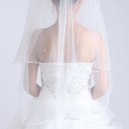 Wholesale Chepest White Ivory Two Layers Short Wedding Veils With Satin Edge Pearls USA Soft Tulle