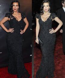 Wholesale High Quality Evening Dresses Kim Kardashian Sexy V Neck Black Lace Evening Gowns Beaded Mermaid Floor Length Celebrity Dress