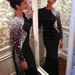 Wholesale 2016 Bling Crystal Beaded Black Long Sleeve Sheath Evening Dresses Jewel Neck Sweep Train Muslim Prom Gowns Arabic Sparkly Rhinestones