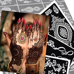 Wholesale new glitter Indian henna tattoo stencil temporary Henna tatoo paste large template professional stencils for painting Kit