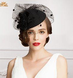 Wholesale Vintage Perfect Birdcage Headpiece Head Veil Wedding Bridal Accessories Party Women Hats Black Bride Hat S