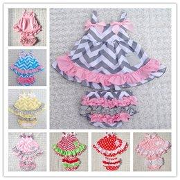 Wholesale 2015 Summer New Baby Girls Clothes Lovely Romper Suspender Tops Briefs Set Infant Kids Wave Pattern Ruffles Flower Tutu Romper BJ H3433