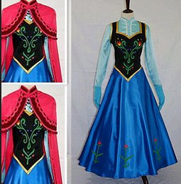 Wholesale 2015 Classic Snow Queen Princess Anna Dress Cloak Suit Hallow Frozen Princess Anna Cosplay Dress Snow Cosplay Costume Adult Lady Women