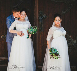 2017 wedding dresses pregnant sleeves 2016 Maternity Lace Crystals Beach Wedding Dresses Crew Half Sleeves A-line Wedding Gowns Vintage Wedding Dresses For Pregnant Women cheap wedding dresses pregnant sleeves