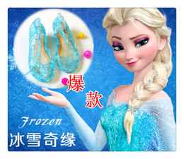 Wholesale Frozen Girl Queen Elsa Princess Sandals Anime Cosplay Shoes Fashion Lolita Sweet Children s Shoes Wedge Cheap Hollow Crystal Shoes DHL