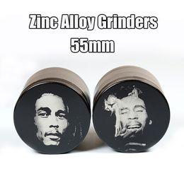 Wholesale 55mm Molinillos de Bob Marley Molinillos de aleación de zinc Grinder mejor calidad a base de plantas trituradora de capas sharpstone Molinillos cigarrillos Imán de la cubierta E