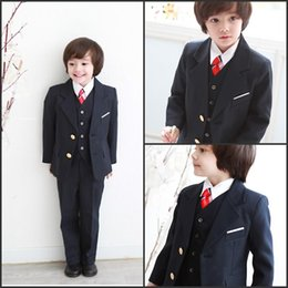 Wholesale 2015 Boy s Formal Wear Suits For Boy Notch Lapel Baby Kids Formal Occasion Wedding Party Children Tuxedos Jacket Pants Tie Vest C858