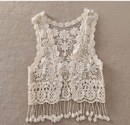 Wholesale Sexy Beach Embroidery Vintage Retro Sweet Cute Casual Crochet Floral Hollow Lace Vest outwear Slim Bohemia Tank Top Blouse For Women A5821