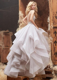 Wholesale Unique Desige Hayley Paige Wedding Dresses Sexy Backless Sheer Jewel Neck Floor Length Ball Gown Beading Organza Bridal Gowns