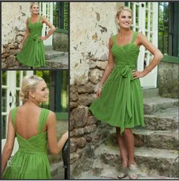 Wholesale Custom Made off Simple Short Bridesmaid Dresses Sweetheart Lime Green Chiffon prom dress Party Evening Formal Gowns