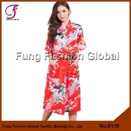 Wholesale 0110 Long Design Peacock Satin Bridal Kimono Robe Dressing Gown Women Robe