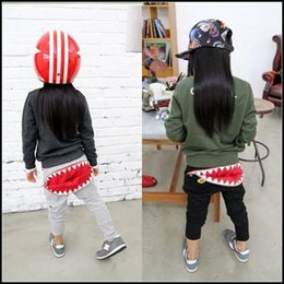 Wholesale 2015 Summer kids cool cartoon pants boy girl Good Quality shark tooth Zipper Harem pants Baby clothes DHL free ship MOQ SVS0312