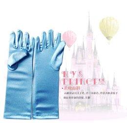 Wholesale Costume princess kids gloves for girls frozen Elsa gloves long Blue Satin Gloves children long blue gloves S0802