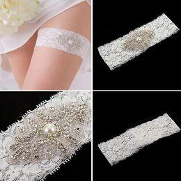Wholesale Ellie s bridal White Wedding Garter Set Stretch Lace Bridal Garter With Pink Rhinestone Applique