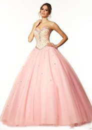 Wholesale Modern Tulle Sweetheart Quinceanera Ball Gowns Crystals Sequins Debutante Lace Up Croal Masquerade Quinceanera Dresses Sweet Dresses