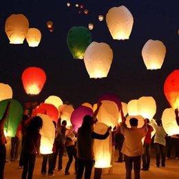 5pcs / Couleurs Lot hasard papier Lanternes chinoises Lanternes Souhaitant Air Ballons feu Sky Lanternes Pour Birthday Party YT0098 Kevinstyle