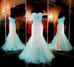 Wholesale 2015 Stunning Mermaid Aqua Nude Lace Prom Dresses Sweetheart Corset Back Lace Appliqued Evening Prom Gowns Pageant Dresses Custom Made