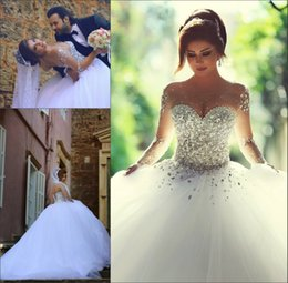 Wholesale Said Mhamad Long Sleeve Wedding Dresses Plus Size vestidos de noiva Ball Gown Bridal Gowns Zipper Back Luxury Wedding Dress for Brides