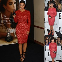 Wholesale Kim Kardashian Long Sleeves Gowns Evening Dresses Red Lace Knee Length Mermaid Style Prom Party Dress For Women Special Occasion