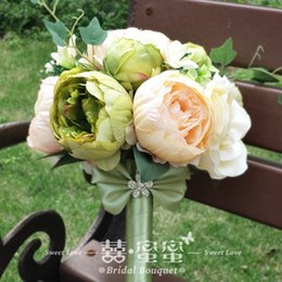 Wholesale 2015 Popular Romantic Bridal Bouquets Bridesmaid Posy Artificial Rose Peony Wedding Decoration Bride Holding Flower Two Style Mixed Color WZ