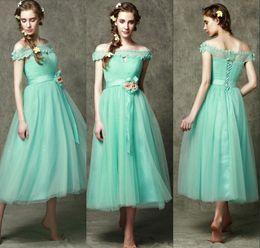Wholesale Eleght Party Prom Dress A Line Bateau Short Sleeve Handwork Flower Tulle Tea Length Formal Pageant Gown Custom