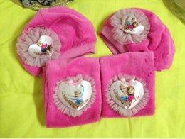 Wholesale OUTLETS Charm Frozen scarf hats suit Ice snow princess scarves caps Anna Elsa Children Accessories winter warm girls hats sets ZB