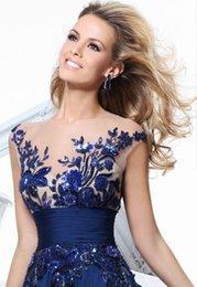 Wholesale Cheap Under Tarik ediz Evening Dresses Sheer Neckline Short Sleeves Backless Split Applique Chiffon Plus Size Party Prom Gown