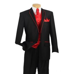 Wholesale 2016 Custom Made Black Suits With Red Edge For Collar And Red Vest Bespoke Wedding Groom Suit Jacket Pants Vest Tie