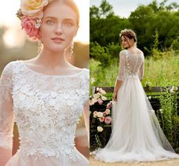 Wholesale 2016 New Bohemian Romantic A Line Wedding Dresses Lace D Floral Appliques Beach Illusion Neck Three Quarter Sleeves Boho Cheap Bridal Gowns