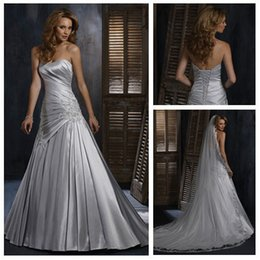 Wholesale A line Dropped Waist Vintage Stlye Garden Dress Silver Wedding Gown