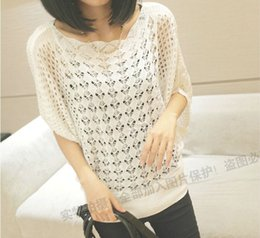 Wholesale The new fashion middle bat sleeve loose large size hollow sweater sueter coat for women LSW105