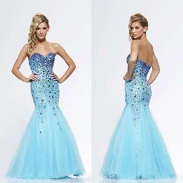Wholesale Mermaid Long Prom Dress Sweetheart Aqua Blue Crystal Sequineds Formal Dresses Party Evening Gowns Sexy Long Party Dresses Organza