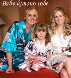 Wholesale Kid Robe Satin Small Children Kimono Robes Bridesmaid Gift Flower Girl Dress Silk Bathrobe Nightgown Kimono Size Yrs