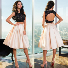 Wholesale Knee Length Two Piece Prom Dresses For Teens Sweet Sixteen Girls Hot Sale Cheap Sheer Backless Black Lace Homecoming Gowns Custom Made