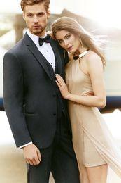 Wholesale Charcoal gray collar incision two buttons the groom s best man suit wedding dress wedding suit jacket pants vest