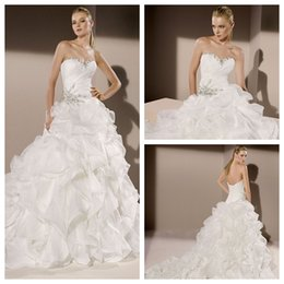 Wholesale 2015 Divina Sposa Wedding Dresses Ball Gown White Organza Sweetheart Lace Up Sleeveless Court Train Tiers Beads Ruffle Bridal Gown Custom