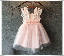 Wholesale Children s Dresses baby skirt Kids Clothing Princess Dress Childrens Girls Dresses Sleeveless Kids Clothes Lace Gauze cut Dresses