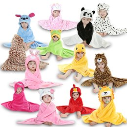 Wholesale Baby Blanket Toddlers Flannel Hooded Cloak Babe Boys Girls Wraps Cartoon Animal Design Hello Kitty Soft Cute Free Drop Shipping