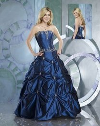 Wholesale Vintage Quinceanera Ball Gowns Royal Blue Taffeta Strapless Beaded Exposed Boning Corset Pick ups Long Debutante Prom Dresses