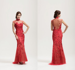 Wholesale Oliva Couture Chinese Traditional Formal Dresses High Neck Sheer Back Zipper Side Red Applique Cap Sleeves Cheongsam Custom FY1132
