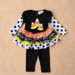 Wholesale 30set Halloween Tutu Dress Girls Black dress Trousers Children Clothes Kids Clothing Infant Outfits Baby Suit HX