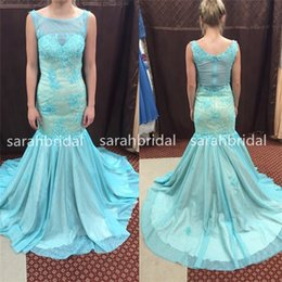 Wholesale 2015 Colorful Aqua Nude Mermaid Prom Pageant Dresses For th Grade Dance Homecoming Teens Hot Sale Cheap Plus Size Lace Robe De Soiree