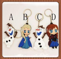 Wholesale children Key Chains Olaf Elsa Anna keychain Soft Rubber Cartoon Anna Elsa Keychain pendant Fashion Accessories Y30181