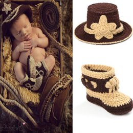 Wholesale Nursling Crochet photography Props Handmade Western Cowboy Hat And Shoes Set Baby Costume set MZS