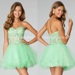 Wholesale New Sweetheart Mini Mint Homecoming Dresses Lace Appliqued Short Corset Prom Dresses Tulle Mini Party Dresses