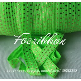 Wholesale 5 quot gold foil dots printed fold over elastic acid green ribbon for hair accessories yards roll