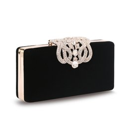 Wholesale Ladies Hand Bag Purse Wedding Bridal Handbag With Crystals Crown Press Button Feast Party Shoulder Bag hb202