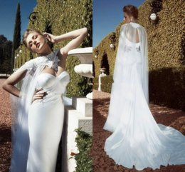 Wholesale Backless Sheer Cloak New Sweetheart Side Lace Two Pieces Mermaid Backless Vintage White Wedding Dresses With Cloak