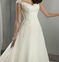 Wholesale In Stock Vintage Wedding Dresses With A Line Chapel Lace White Ivory Sleeveless Sweep Train Bridal Ball Gowns Dresses