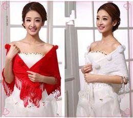 Wholesale Wedding Shawl Fashion wedding shawl All match wedding shawl Bridal Veil Triangle wedding shawl The red and white wedding shawl B